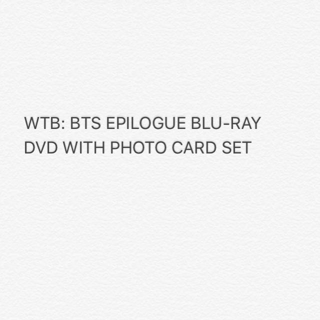WTB BTS EPILOGUE ONSTAGE BLU RAY DVD W PHOTO CARDS