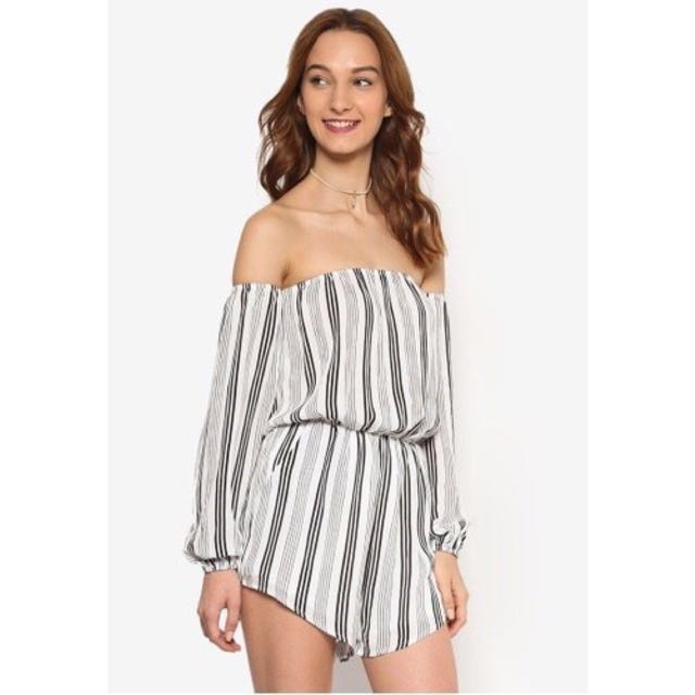 3f97fd7d332 Zalora Love Off Shoulder Playsuit with Balloon Sleeves