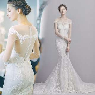 Vintage Inspired Lace Mermaid Sheer Luxury Embroidery Wedding Dress LWS001
