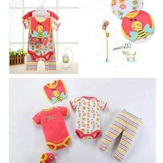 Fashionable Baby Boys and Girls Romper Set( 1 set 5 pcs)