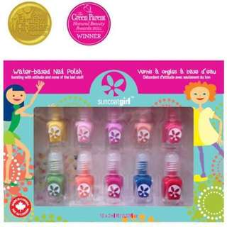 *Halloween Sale* Non-toxic Kids-safe Award-Winning Children Friendly Water-Based Peelable Suncoat Girl Nail Polish Kit, Merry Mini/ Flare & Fancy / Party Palette, 10 Pieces