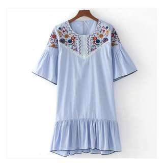 Blue Dress Skirt Bohem