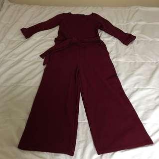 Boohoo wine culotte jumpsuit