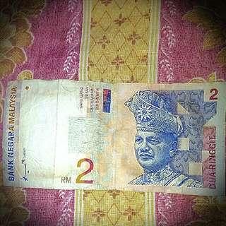 Duit RM 2 lama cash atau tukar barang lain