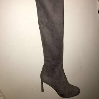Over the knee Nine West Grey Suede Heel Boot