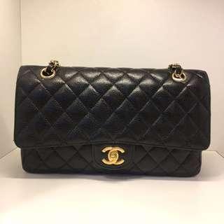 正品 90%新 Chanel 25cm Classic 黑色荔枝皮金色雙鍊