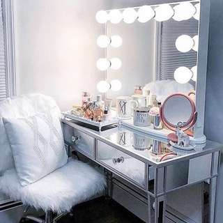 NEW IN BOX - WHITE FRAMELESS HOLLYWOOD GLAMOUR MIRROR