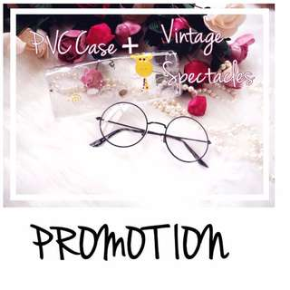 [Promotion] PVC Case + Vintage Round Glass Spectacle