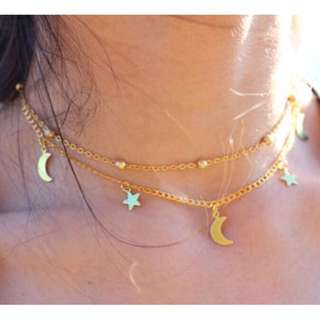 Necklace Moon and Star layered metal plated necklace