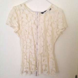Cream/Beige Crotchet Floral Top | SZ:10