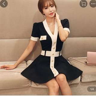 BNIT Korea Style Black Sexy Dress with V Collar