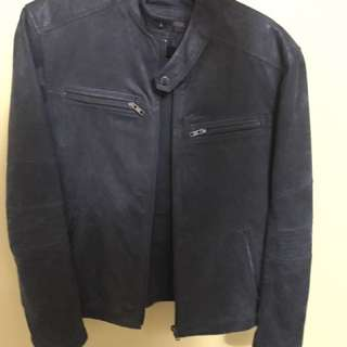 Danier blue suede motorcycle jacket
