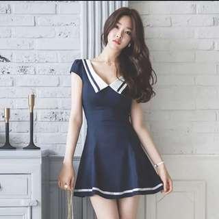 BNIT Korea Sexy V Collar Navy Dress