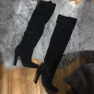 Suede BARDOT THIGH HIGH BOOTS