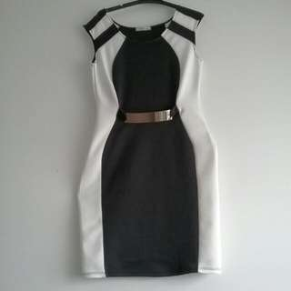 Black And White Midi Cocktail/formal Dress With Gold Waist Detail.