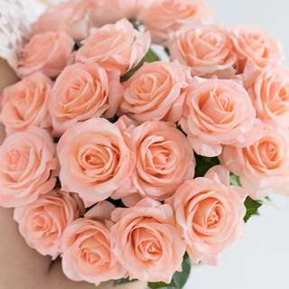 💐YourStalkMarket - Artificial Champagne fabric silk roses - very real looking