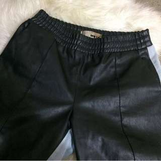 Topshop Leather/Denim Trackie Pants