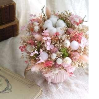 粉紅佳人 .甜蜜粉色系.乾燥花生日婚禮盆花