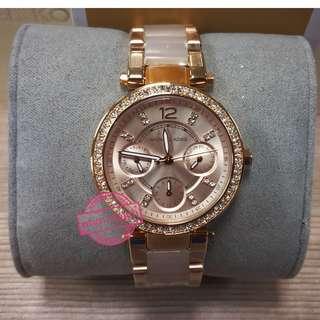 **Michael Kors(MK) Style MK6110 Parker Mini Multi-Function Rose Dial Rose Gold-tone and Blush Acetate Ladies Watch