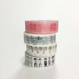 Pack of 4 Wedding Washi Tapes / 15mm x 10m Washi tape / Craft Supplies / Decoration Tape / LUNARBAY WASHI TAPE