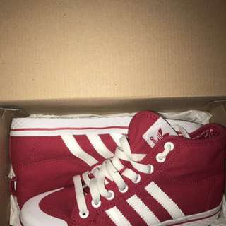 Red With White Stripe Adidas Sneakers