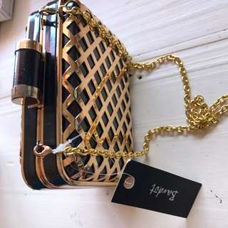 Black and Gold Clutch with Chain - NEW