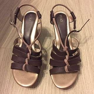 Suki Brown Wedge Sandals