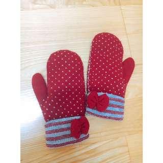針織愛心暖手套