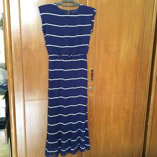 Women stripes prisket sleeveless dress, dress wanita