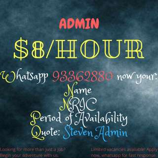 ADMIN NEEDED FROM 1 MONTH TO 6 MONTHS!! WHATSAPP NOW FOR FAST RESPONSE