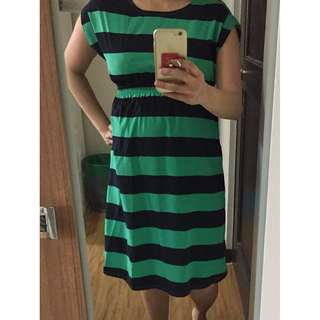 New price alert! Nine Months Green/Black Striped maternity dress