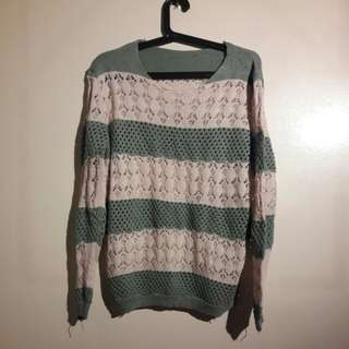 Green and Cream Knitted sweater