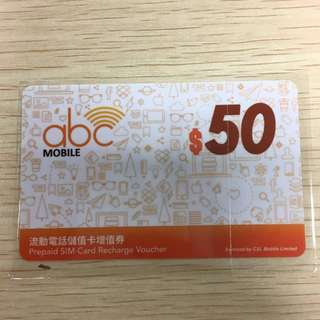 one2free abc 面值HK$50 電話儲值卡增值券 $40包郵費