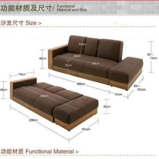 Red Fabric Sofa Bed