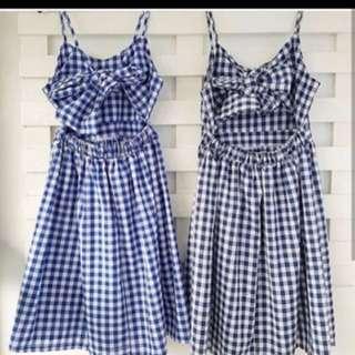 Tie knot gingham dress (blue)