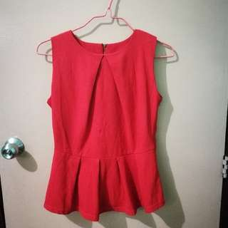 Red peplum top. Repriced!