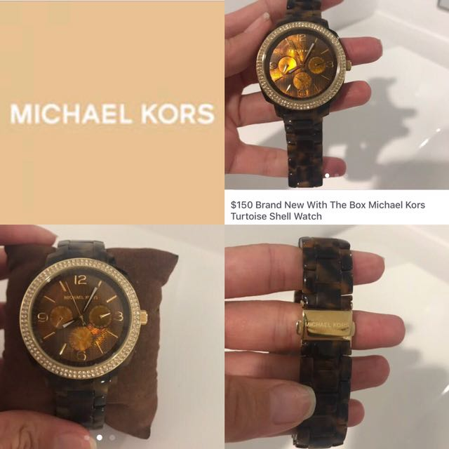 $150 New Includes Box Michael Kors Gold & Tortoise Shell Watch