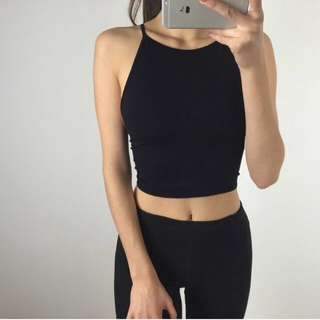 Black Stretchy Backless Halter Top