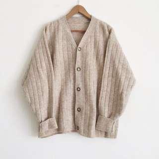 古著 羊毛 開襟毛衣外套 米色
