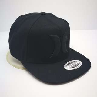 Hurley Stock All Black Straight Brim Baseball Cap Hat Caps Hats with Adjustable Snapback
