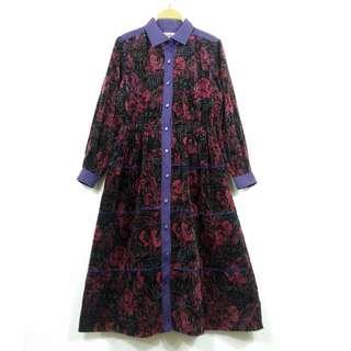 日本 古著 玫瑰紫連身洋裝FA10038