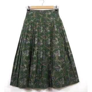 日本 古著 墨綠印花百褶裙FA10040