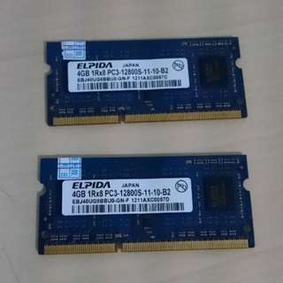 DDR3 4GB RAM for Laptop 2 pcs (total 8 GB)