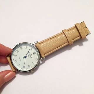 Quartz Coffee Leather Watch