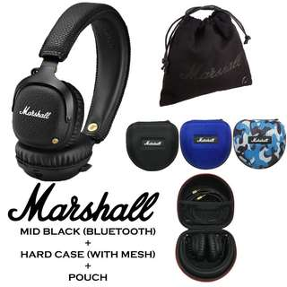 [EXCLUSIVE BUNDLE] Authentic Marshall MID Bluetooth Headphone Black + EVA Hard Cover Carry Case With Mesh + Pouch Bundle
