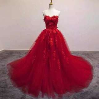100% New Arrival Red Wedding gown/ball gown, evening dress