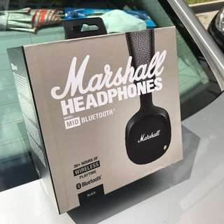 READY STOCK: BLUETOOTH WIRELESS + WIRED CABLE MARSHALL MID HEADPHONE Brand New in Retail Box Headphones with Mic Professional DJ Monitor Headphone