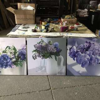 Purple Flowers - Set of 3 prints on wood
