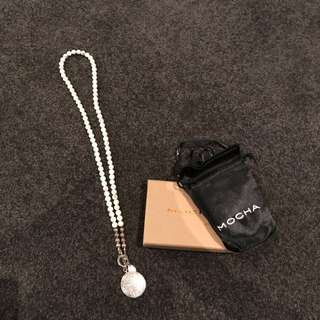 Mocha Necklace With White Marbled Beads And Silver Pendent