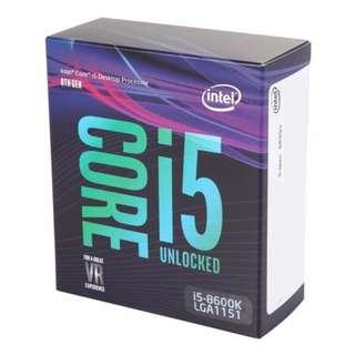Intel Core i5-8600K Coffee Lake 6-Core 6 Threads 9MB Cache 3.6 GHz Turbo Boost to 4.3 Ghz LGA1151 (300 Series) 95W